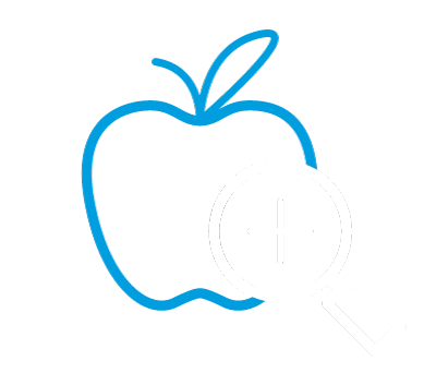 Apple with Magnifying Glass Icon