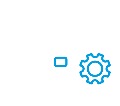 Icon of a briefcase with a gear