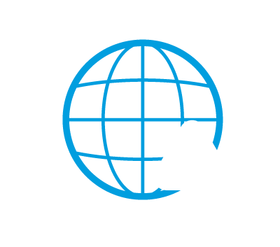 Icon of a globe with caution sign