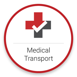 Red and grey medical cross with the words medical transportation directly below