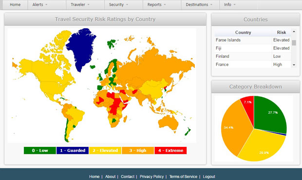 Screen From The CAP Travel Risk Portal Displaying Travel Risk Heat Maps