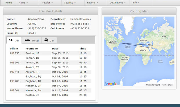 Screen From The CAP Travel Risk Portal Showing The Traveler Itinerary Integration Feature
