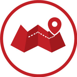 Red Map Graphic With A Location Pin