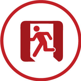 Red Stick Figure Person Running Through A Doorway